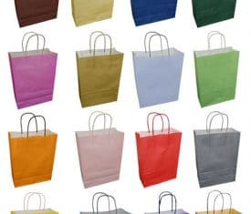 20 Bright Coloured Twisted Handle Kraft Paper Party Gift Hen Night Carrier Bags