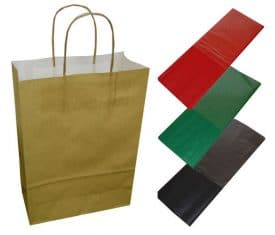 20 Gold Paper Twist Handles Party Gift Bags & Coloured Tissue Paper