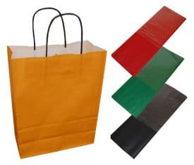 20 Orange Paper Twist Handles Party Gift Bags & Coloured Tissue Paper