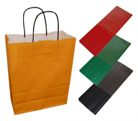 20 Orange Paper Twist Handles Party Gift Bags Coloured Tissue