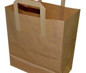 250 Large Brown 260mm x 140mm x 300mm Kraft Paper Takeaway Take Out Bags