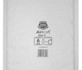Box of 50 White Jiffy Airkraft Bubble Envelopes Size 3 205mm x 320mm 143243788011 275x235 - Box of 50 White Jiffy Airkraft Bubble Envelopes Size 3 205mm x 320mm