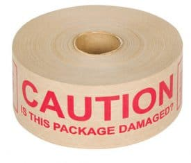 Tegrabond 70mm x 152m Pre Printed CAUTION IS THIS PACKAGE DAMAGED Adhesive Tape