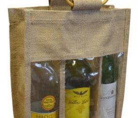 Triple Bottle Jute Gift Wrap Carrier Bags with Window Wine Spirits Bottles Qty 5