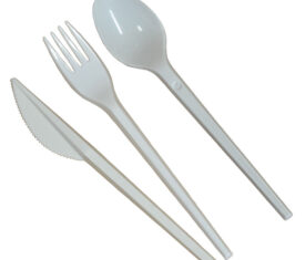 White Plastic Cutlery Knives Forks Spoons Disposable Cutlery for Catering Party