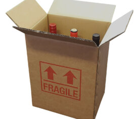 1 Strong Cardboard 6 Bottle Wine Box 275mm x 190mm x 335mm Printed Fragile