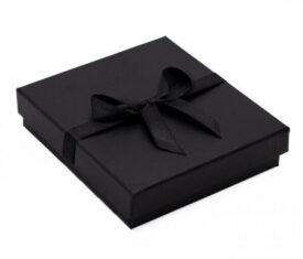 Black Gift Box for Bracelets with Satin Ribbon 103mm x 95mm x 25mm Qty 1 Box