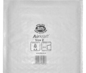 Box of 100 White Jiffy Airkraft Bubble Envelopes Size 2 205mm x 245mm 143243785942 275x235 - Box of 100 White Jiffy Airkraft Bubble Envelopes Size 2 205mm x 245mm