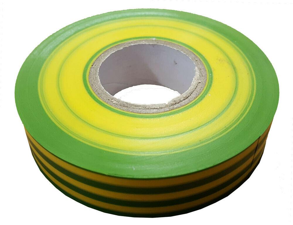 19mm x 33m Yellow Green Flame Retardant Electrical PVC Tape Qty 1 Roll