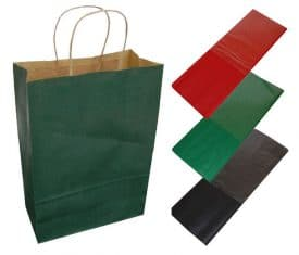 20 Dark Green Paper Twist Handles Party Gift Bags & Coloured Tissue Paper
