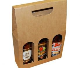 3 Bottle Beer Ale Box Carrier Holder Fathers Day Xmas Gift Pack 215 x 70 x 490mm