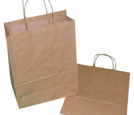 50 Medium Brown Paper Carrier Gift Retail Bags 240mm x 110mm x 320mm