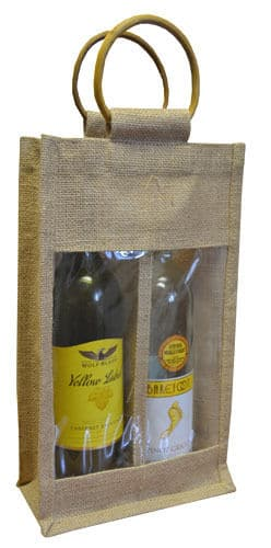 Double Bottle Jute Gift Wrap Carrier Bags with Window Wine Spirits Bottles Qty 5
