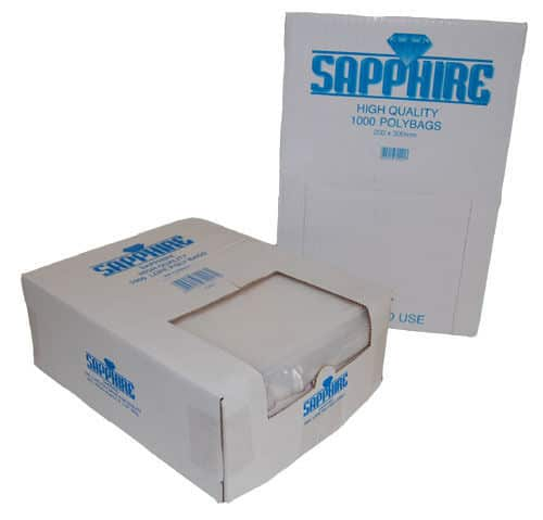 Sapphire Polythene Poly Plastic Food Storage Bags Plain Clear 500 Gauge 9 Sizes