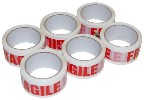 12 ROLLS OF FRAGILE PRINTED PACKING PARCEL CARTON SEALING TAPE 48MM X 66M