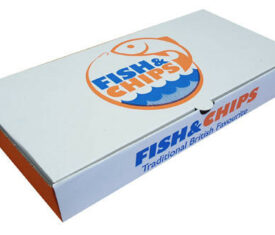 "12"" x 6"" x 2"" Fish and Chips Chippy Takeout Takeaway Box Printed Die Cut Boxes"