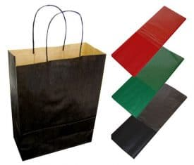 20 Black Paper Twist Handles Party Gift Bags & Coloured Tissue Paper - Christmas