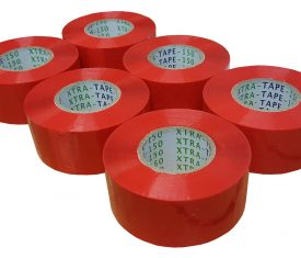 48mm x 150m Extra Long Red Adhesive Parcel Tape Qty 6 Rolls