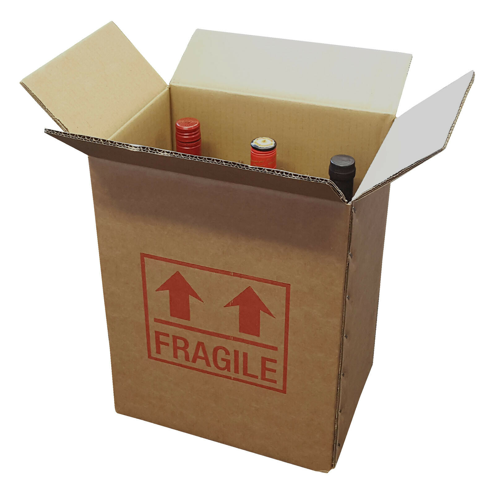 5 Strong Cardboard 6 Bottle Wine Boxes 275mm x 190mm x 335mm Printed Fragile 163603397024 - 5 Strong Cardboard 6 Bottle Wine Boxes 275mm x 190mm x 335mm Printed Fragile