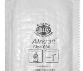 Box of 150 White Jiffy Airkraft Bubble Envelopes Size 000 90mm x 145mm 143243749614 275x235 - Box of 150 White Jiffy Airkraft Bubble Envelopes Size 000 90mm x 145mm