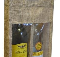 Double Bottle Jute Gift Wrap Carrier Bags Window Wine Spirits Bottles Qty 10