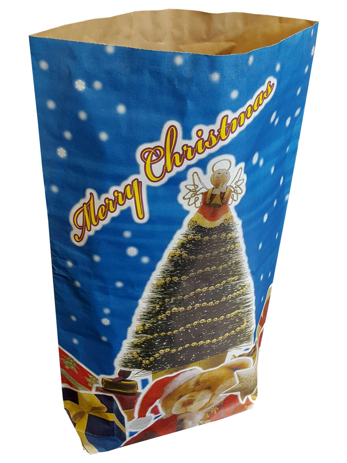 Large Christmas Xmas Festive Gift Paper Present Santa Sack Bag Qty 10