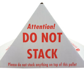 Printed Cardboard Pallet Do Not Stack Cones Warning Triangles