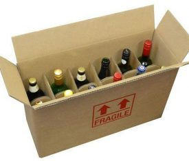 Strong DW Cardboard 12 Bottle Wine Storage Postal Boxes 540 x 190 x 350mm Qty 15