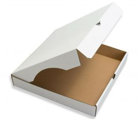 240mm x 240mm x 50mm Pizza Style White Corrugated Cardboard Postal Boxes Qty 100 164030945215 275x235 - 240mm x 240mm x 50mm Pizza Style White Corrugated Cardboard Postal Boxes Qty 100