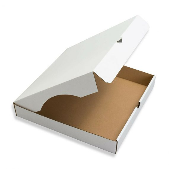 240mm x 240mm x 50mm Pizza Style White Corrugated Cardboard Postal Boxes Qty 100 164030945215 570x570 - 240mm x 240mm x 50mm Pizza Style White Corrugated Cardboard Postal Boxes Qty 100