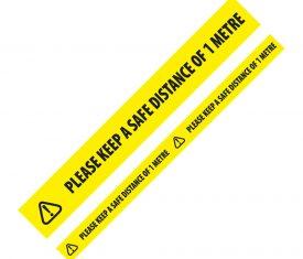 48mm x 66m Social Distancing 1m Distance Floor Marking Tape Yellow Qty 6 Rolls