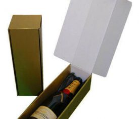 Gold Cardboard Wine Bottle Gift Presentation Boxes with Black Tissue Pack of 10