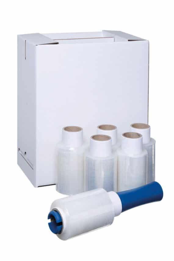 Mini stretch pallet wrap dispenser + 6x clear 150m x 100mm shrink film rolls kit