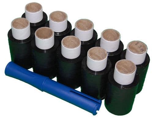 10 Rolls 100mm x 150m x 17mu Black Mini Hand Pallet Stretch Wrap FREE Dispenser 140610453796 - 10 Rolls 100mm x 150m x 17mu Black Mini Hand Pallet Stretch Wrap FREE Dispenser