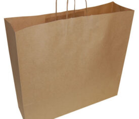 100 Extra Large Jumbo Brown Paper Carrier Gift Retail Bags 540mm x 150mm x 490mm
