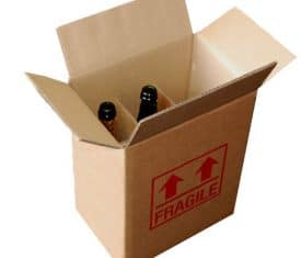15 DW Cardboard 6 Bottle Wine Postal Boxes 275mm x 190mm x 335mm Printed Fragile