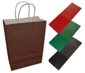 20 Chocolate Brown Paper Twist Handles Party Gift Bags & Coloured Tissue Paper