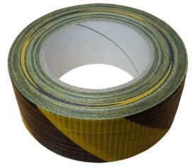 50mm x 50m Black Yellow Striped Gaffer Tape Waterproof Duct Tape Qty 1 Roll