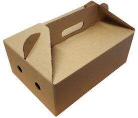 Die Cut Takeout Takeaway Boxes with Carry Handles for Chinese Indian