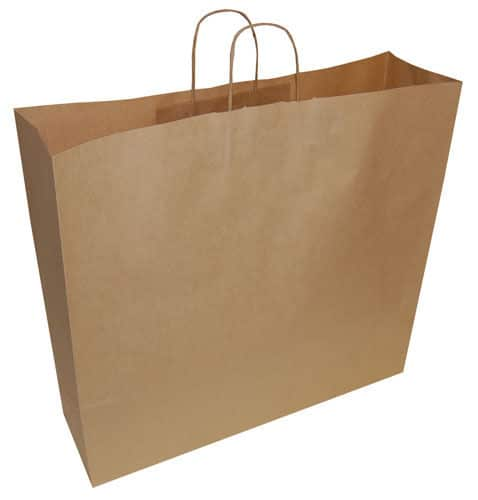50 Extra Large Jumbo Brown Paper Carrier Gift Retail Bags