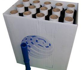 100mm x 150m x 17mu Black Mini Hand Pallet Stretch Wrap 40 Rolls plus Dispenser
