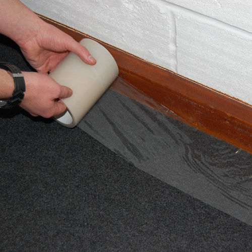 125mm x 25m Self Adhesive Clear Carpet Protector Film Roll Dust Cover
