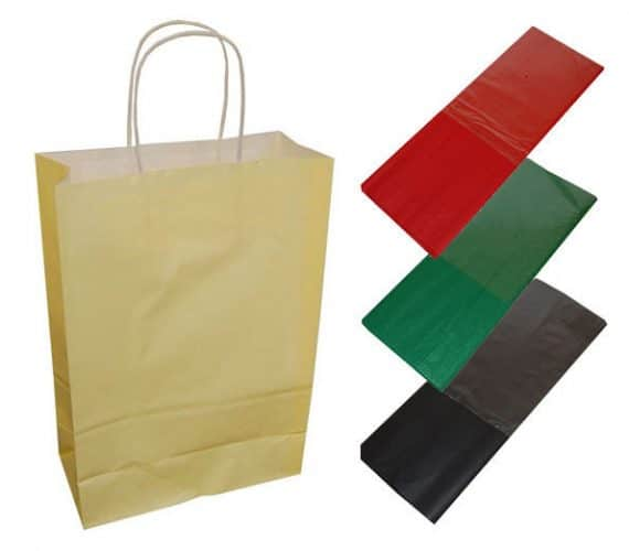 20 Cream Paper Twist Handles Party Gift Bags Coloured Tissue