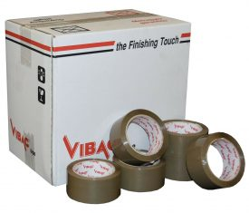 Vibac Heavy Duty Buff Solvent Vinyl Adhesive Tape 48mm x 66m Qty 36