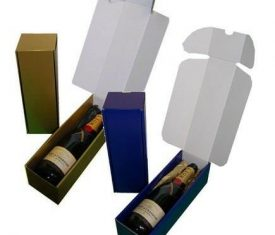 Gold Blue Cardboard Wine Bottle Gift Presentation Boxes with Tissue Paper Qty 10