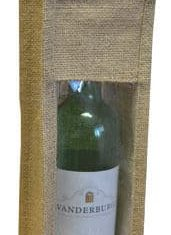 Single Bottle Jute Gift Wrap Carrier Bags with Window Wine Spirits Bottles Qty 5