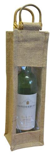 Single Bottle Jute Gift Wrap Carrier Bags with Window Wine Spirits Bottles Qty 5