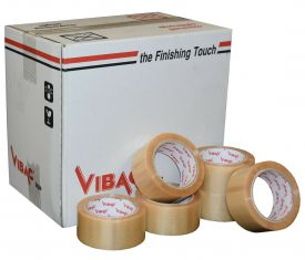 Vibac Heavy Duty Clear Solvent Vinyl Adhesive Tape 48mm x 66m Qty 36